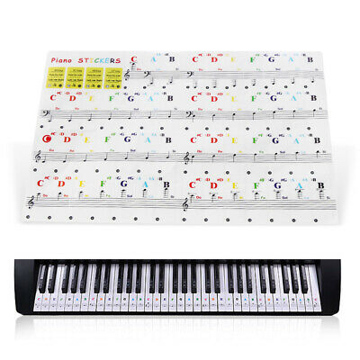 Piano Keyboard Sticker Musical Instrument 54/61/88 Key Note Transparent Decal