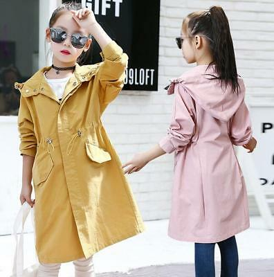 Autumn new girls solid color hooded jacket long trench coat Windbreaker