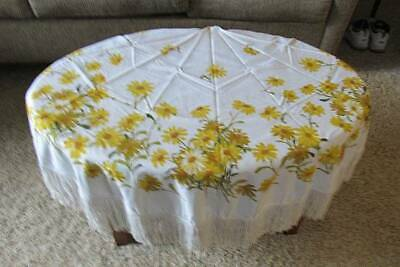 Vintage Round Woven Cotton Tablecloth Sunflowers with Fringe 70""