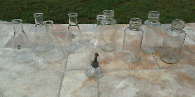Vtg Mixed Lot Chemistry Lab Science Pyrex Beaker Apothecary Bottles Flasks USA