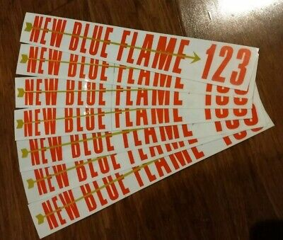 1955 Chevy New Blue Flame 123 Valve Cover Decal LOT Of 7