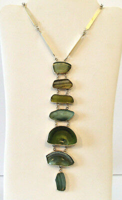 Great ANCIENT ROMAN GLASS Sterling Silver STATEMENT NECKLACE Israel MODERNIST A+