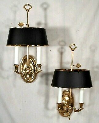 Pair Of Mid Century Classical Adams Brass Sconces W/ Black Painted Brass Shades