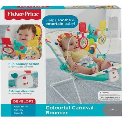 Fisher Price Colourful Carnival Bouncer Seat Baby Swing Toy Calming Vibrations