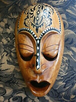 Vintage Pacific Island Carved Wall Mask Inlaid Mother Of Pearl& Hand Painted