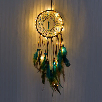 LED Light Handmade Dream Catcher Feather Wall Hanging Home Decor Ornament Gift