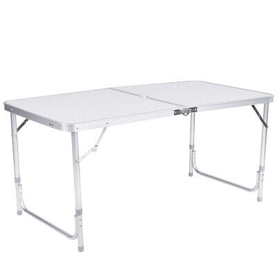 Aluminum 4FT Roll Up Table Folding Camping Outdoor Indoor Picnic Graden White UK