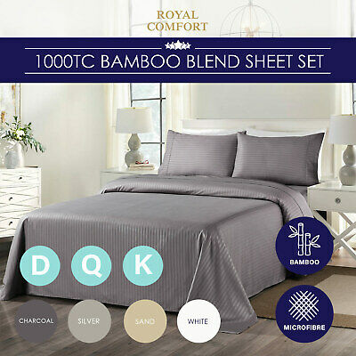 Royal Comfort Cooling Bamboo Blend Sheet Set Striped 1000 Thread Count Pure Soft