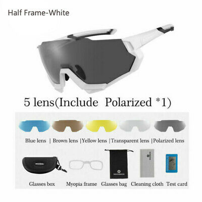 RockBros Cycling Polarized Glasses Outdoor Sunglasses Goggles & 5 Lens White New