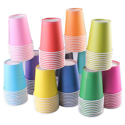20x Paper CUPS 9oz Plain Solid Colours Birthday Party Catering Tableware Job Lot