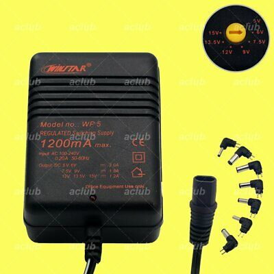 1.2A Multi-Voltage 5V-6V-7.5V-9V-12V-13.5V-15V AC/DC Switching Power Supply WP5