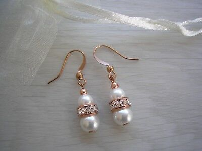 e1 Pearl & Diamante Drop Earrings for women girls ladies brides bridesmaids gift