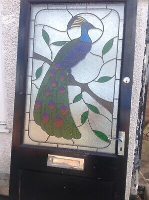 Front Door Solid Wood Stained Glass Peacock Great Condition with hardware