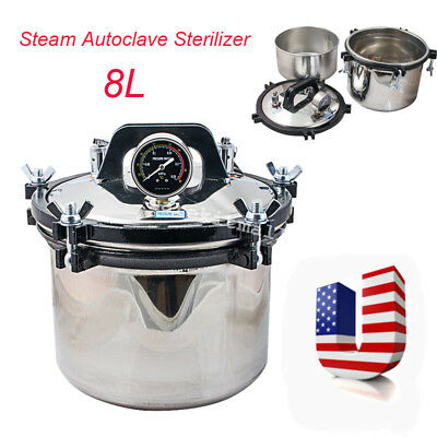USA 8L Professional Medical Dental Steam Autoclave Sterilizer Stainless Steel CE