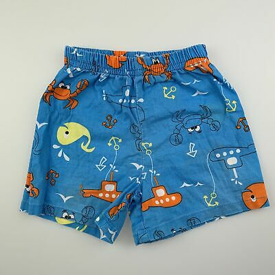 Boys size 0, Baby Berry, blue lightweight cotton shorts, elasticated, GUC