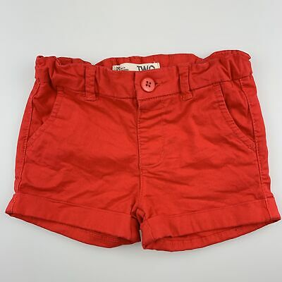Girls size 2, Cotton On, red stretch cotton shorts, adjustable, GUC