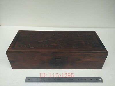 Collection Old China Boxwood Wood Hand Carving Crane Tree Jewelry Box L16.5 inch