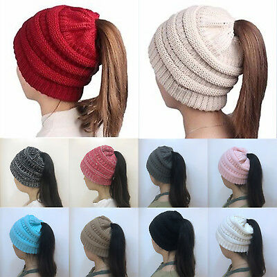 Womens Ponytail Beanie Hats Casual Knitted Thick Soft Stretch Crochet Skull Cap