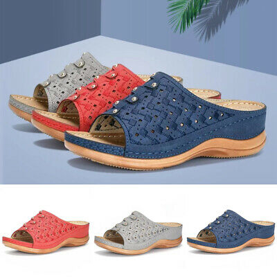 Womens Wedges Sliders Slippers Ladies Slip On Summer Mules Sandals Shoes Size4-7
