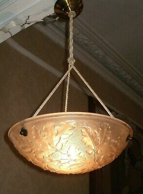 BEAUTIFUL 1930's FRENCH VINTAGE GLASS CEILING LIGHT
