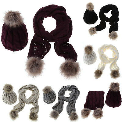 Womens Knitted Hats Fur Bobble Pom Beanie Winter Ski Warmer Scarf Caps Solid Set
