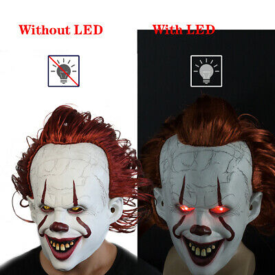It Chapter 2 Clown Led Pennywise Joker Full Face Latex Mask Halloween Cosplay