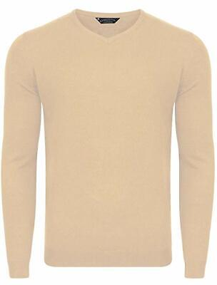 Kensington Eastside Mens Renold V Neck Knitted Jumper Long Sleeve Crew Neck B11