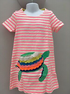 GIRLS MINI BODEN PINK & WHITE STRIPED Turtle AGE 4-5 YEARS