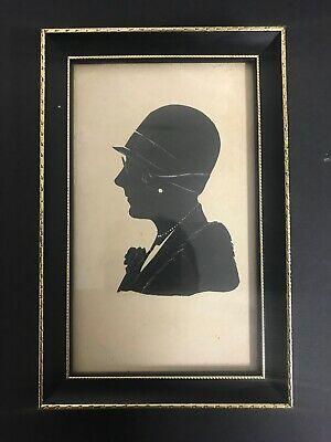 Antique 20th Century Painted Silhouette In Ebonised Frame of a Flapper Girl
