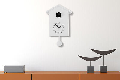 Walplus White Minimalist Cuckoo Clock - Black Window with changeable 4 birds