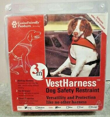 Canine Friendly Red Dog Vest Harness Large Size Safety Restraint 3 in 1 Sealed