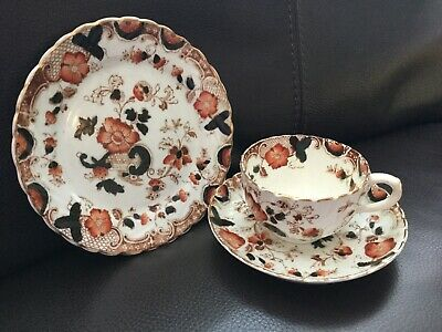 Antique Victorian Imari Trio Teacup Saucer Plate Lovely