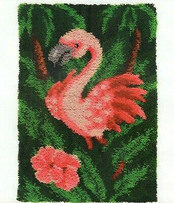 FLAMINGO BIRD PINK LATCH HOOK RUG KIT from UK Seller, BRAND NEW