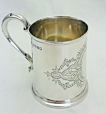 Antique Sterling Solid Silver Tankard Mug Cup  London 1872 (1214-9-WKY)