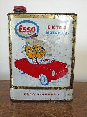 Vintage ESSO Extra Motor Oil Gas Service Station Metal Can Sign