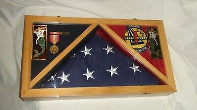 U.s. Navy Flag And Medal Display Shadow Box Case *Includes Flag, Medal, Patches