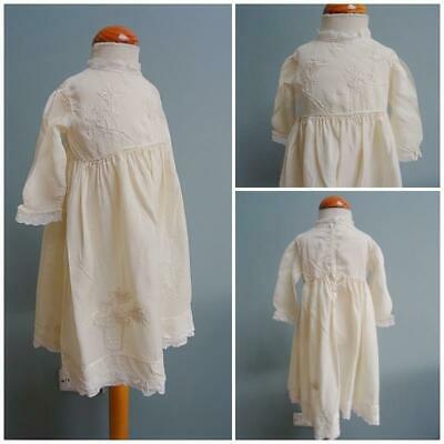 Antique Babys Dress Edwardian Victorian Cream Silk Floral Embroidered Lace c1900