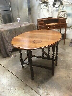 18th Century Style Soiled Oak Gateleg Drop Leaf Oval Dining Table C1930