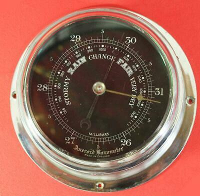 ANTIQUE ENGLISH MARINE 1920c CHROME MARINER SHIPS ANEROID MILITARY BAROMETER
