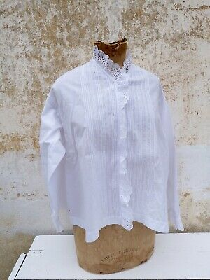 Antique old French Victorian 1900 white  cotton hand embroidered blouse size S/M