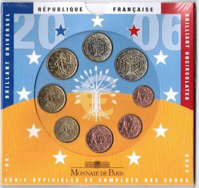 Francia Officiale Set Monete 1 Cent fino 2 Fior di Conio, Originale