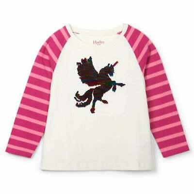 Hatley Girls Top Cream with Flip Sequin Mythical Unicorn & Pink Striped Sleeves