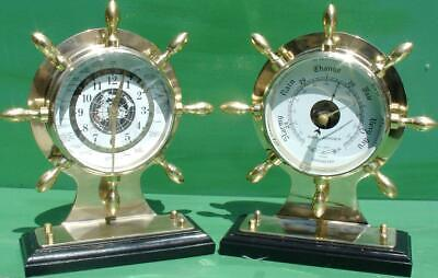 Royal Mariner Ships Wheel Agate Clock & Aneroid Barometer Weather Station