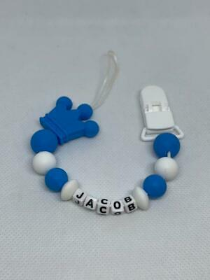 Personalised Baby Silicone Teething Soother Dummy Clip Pacifier Chain