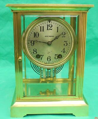 Seth Thomas 8 Day Classic Corniche Crystal Regulator 4 Glass Mantle Clock
