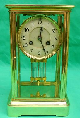 A1 Antique French 8 Day Bell Striking Crystal Regulator 4 Glass Clock