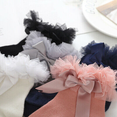 Princess Girls Frilly Ruffle Lace Trim Infant Socks Kids Baby Sock Ankle Bowknot