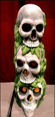 """Skull Head Stack Ceramic Bisque Hand-Painted,13.5"""" Tall (Electrical)"""