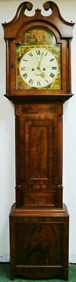 Antique 19thC Scottish 8 Day Striking Longcase Flame Mahogany Grandfather Clock