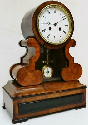 Antique Walnut  French 8 Day Bell Striking Mantel Clock Drumhead Portico Clock